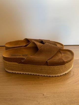 Sandalias plataforma marrones