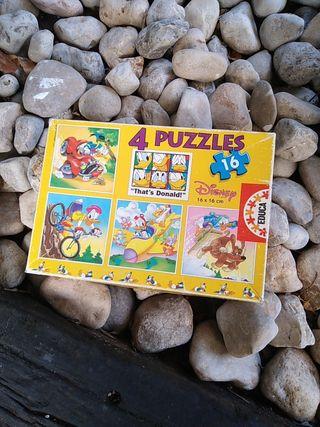 Puzzles Disney 4 Puzzles de 16 piezas cada uno