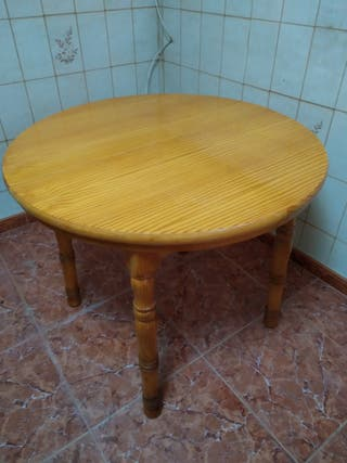 mesa maciza de pino extensible con cristal