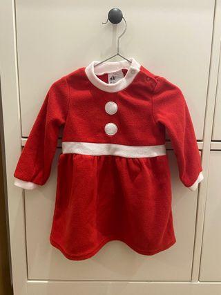 Vestido navidad Mama Noel y leotardos de rayas