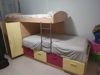 litera tren con armario, cajones mesa, estantería