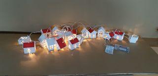 Nadal luz 20 casitas madera led a pilas. 3.30 mts