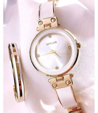 conjunto de reloj mujer acero 316L