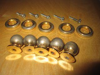 Conjunto 5 tiradores antiguos bola metal o bronce