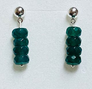 Pendientes de esmeraldas de Zambia y plata ley 925