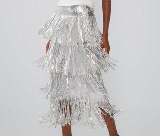 Falda midi con flecos de lentejuelas