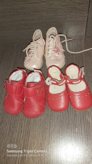 Lote zapatos piel niña 2 nuevas 18