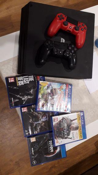 PS4 PRO 500gb, 2 mandos y juegos