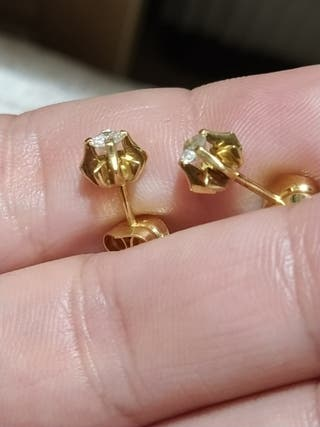 pendientes diamante oro
