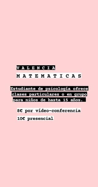 CLASES DE MATEMATICAS en Valencia, primaria y ESO