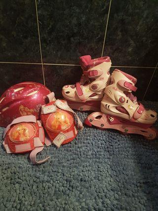 patines niña con casco, rodilleras y coderas
