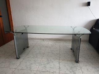 Mesa de oficina de cristal templado