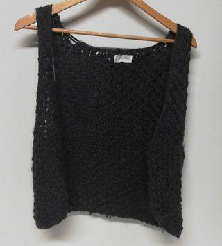 Chaleco 100% lana gris oscuro American Vintage tS
