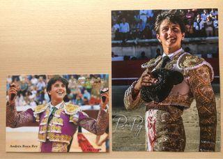 Dos fotografías del torero Roca Rey