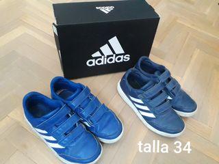 Dos pares zapatillas Adidas niño T.34