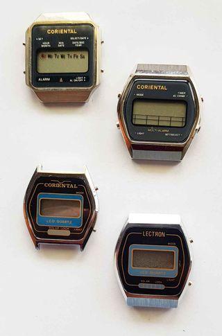 954-Lote 4 relojes digitales, Vintage. NOS, C1980