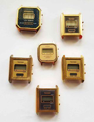 952-Lote 6 relojes digitales, Vintage. NOS C1980