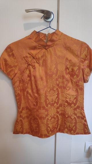 camisa/top japonesa seda