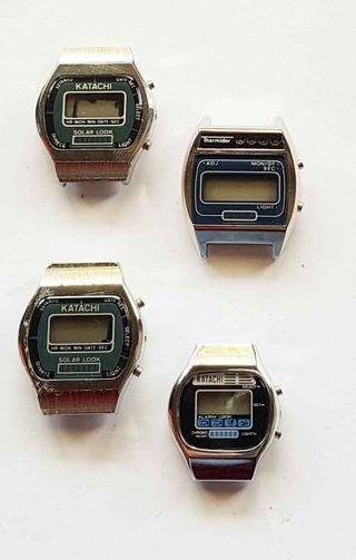 953-Lote 4 relojes digitales, Vintage. NOS, C1980