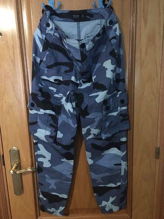 Pantalones de camuflaje azul talla 34