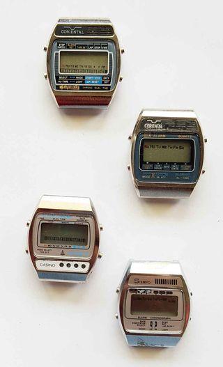 955-Lote 4 relojes digitales, Vintage. NOS, C1980