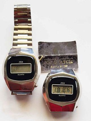 956- 2 relojes Joca, Swiss made, digitales,Vintage