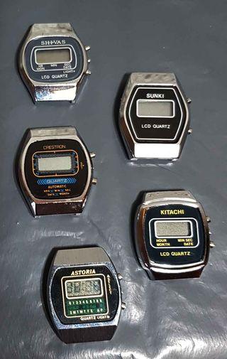 958- Lote 5 relojes digitales, Vintage,NOS, C1980