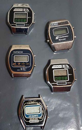 957-Lote 5 relojes, digitales, Vintage. NOS C1980