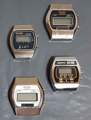 959- Lote 4 relojes digitales, Vintage, NOS,C1980