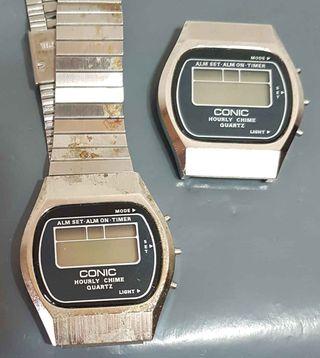 963-Lote 2 relojes digitales, Vintage. NOS, C1980