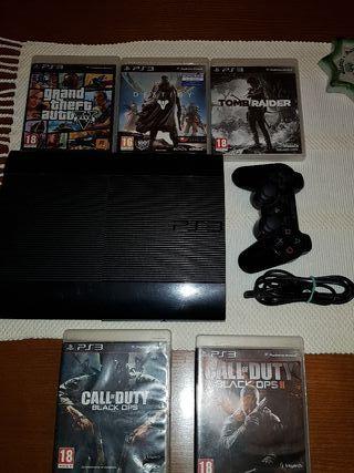 PS3 Super Slim 500 GB + juegos