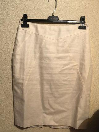 Falda midi blanca mango