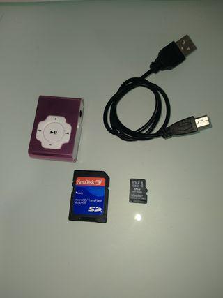 MP3 nuevo con cable y memory card