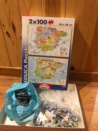 2 Puzzles mapa de España de 100 piezas 40 *28