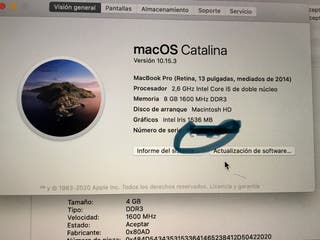 "MacBook PRO 13"" 8 GB año 2014"