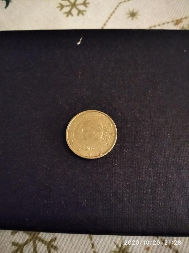moneda 10 cent de Bélgica con empaste en estrella