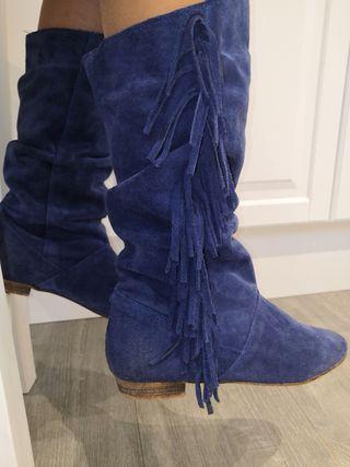 Botas de piel azules
