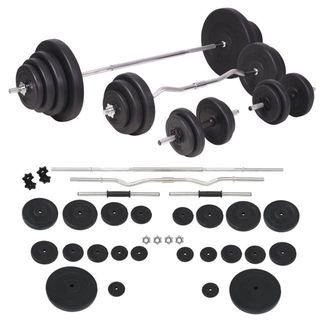Juego de pesas barra y mancuernas 120 kg