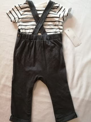 brand new baby F&F dungarees with vest top 6-9 mon