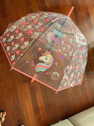 Paraguas unicornio transparente