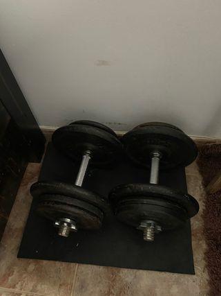 Juego de mancuernas con discos de pesas