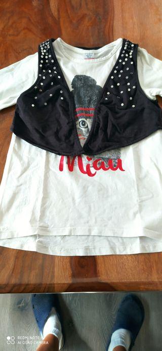 Camiseta m/l con chaleco talla 5-6