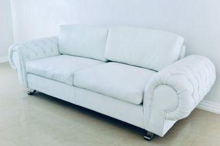 Sofá de cuero legítimo (Blanco)