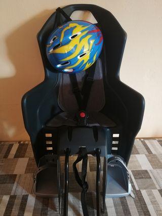 Silla portabebes para bicicleta + casco infantil