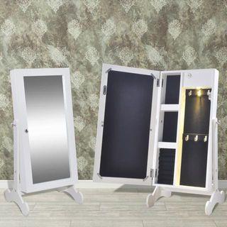 Espejo armario joyero blanco con luz LED