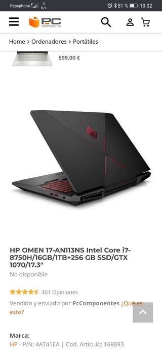 HP OMEN 17-AN113NS Intel Core i7-8750H/16GB/1TB+25