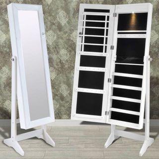 Espejo joyero blanco de pie con luz LED