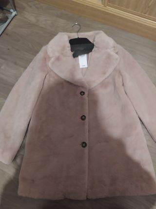 abrigo peluche rosa