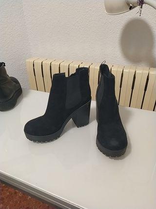 botines negro tacón
