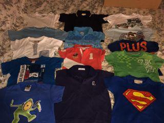 lote 14 camisetas marca niño 2 años